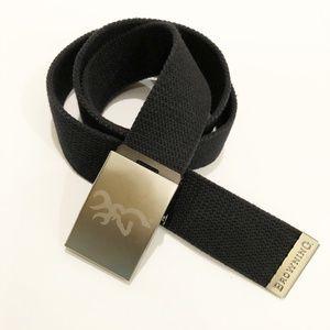 Browning Mens Web Belt Black Silver Tone Buckle OS